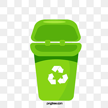 Simple hand painted green recycling bin, Cartoon, Recovery, Recycling Bin PNG and Vector