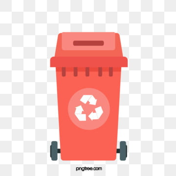 Simple hand-painted red recycling bin, Cartoon, Recovery, Recycling Bin PNG and Vector