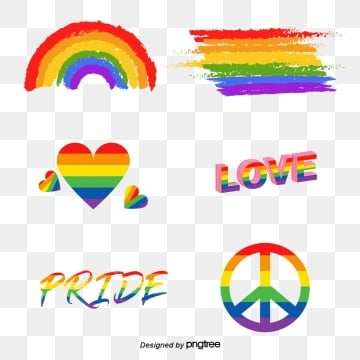 pride moon  creative composition elements, Lgbt, , Hand Painted PNG and Vector