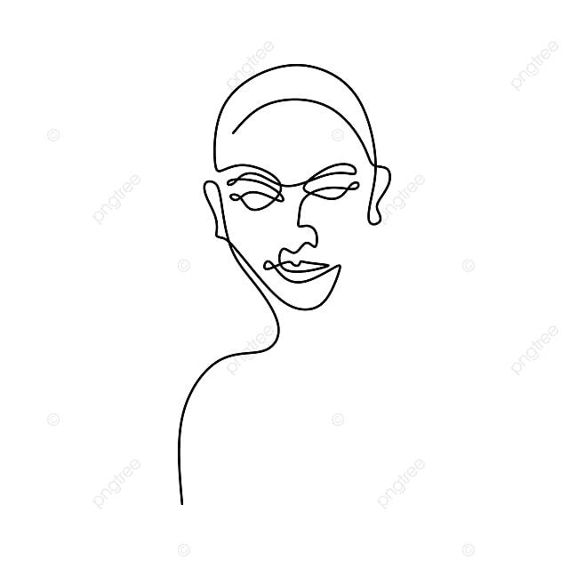 Wajah Manusia Berterusan Minimalism Satu Garis Lukisan Abstrak