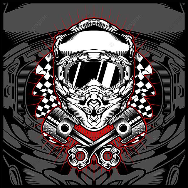 Casco Moto Cross Cráneo Vector Vector Dibujo A Mano