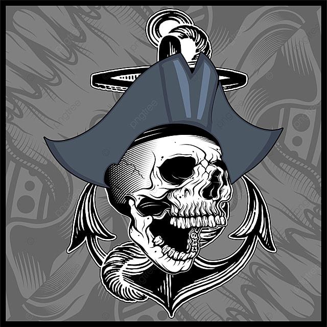 Skull Pirate Hand Drawing Vector, Pirates, Skulls, Vectors ...