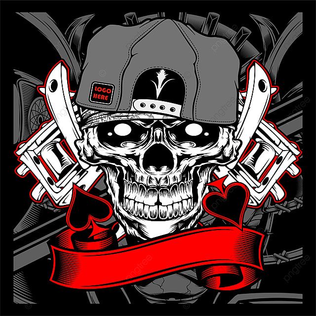 Skull Wearing Cap With Tattoo Machine Vector Heart Tattoo Anchor