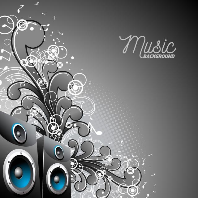 Vector Speakerbox With Grunge Floral Elements On A Dark