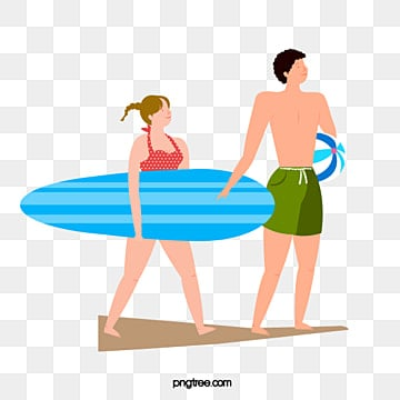 couples surfing on the beach in summer, Surfing, Summer, Summertime PNG and Vector