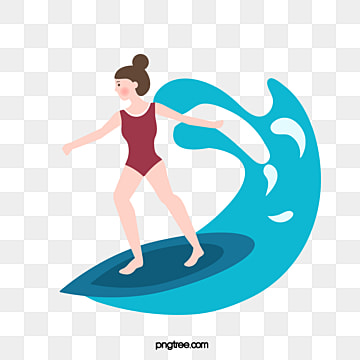 creative hand painted summer womens surfing, Surfing, Surfing, Creative PNG and Vector