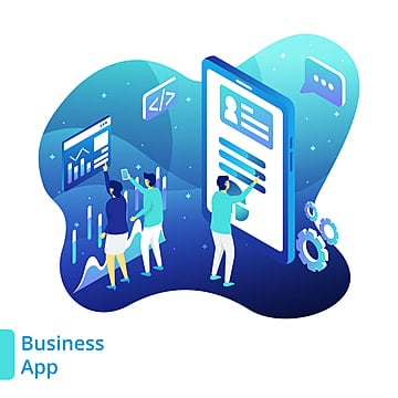 Illustration Business App  the concept of people analyzing application business in front of smart phones  can be used for landing pages  web  ui  banners  templates  backgrounds  posters   Vector, Business, Website, One PNG and Vector