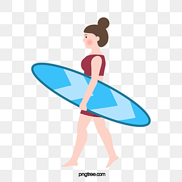 simple hand painted summer womens surfing, Surfing, Cartoon, Woman PNG and Vector