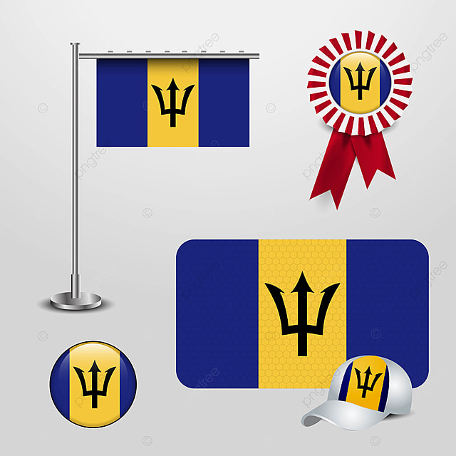 Barbados Country Flag Haning On Pole Ribbon Badge Banner Sport Flag Icons Badge Icons Country Icons Png And Vector With Transparent Background For Free Download