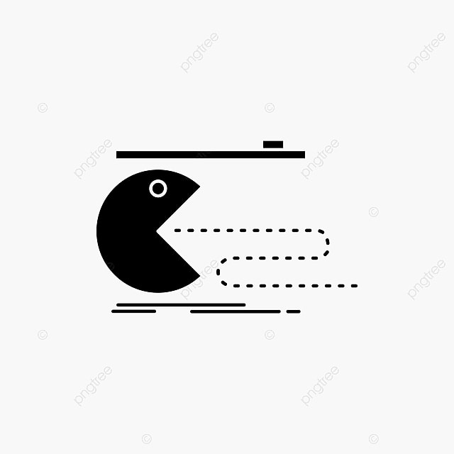 Character,computer,game,gaming,pacman Glyph Icon Vector Iso, 80s