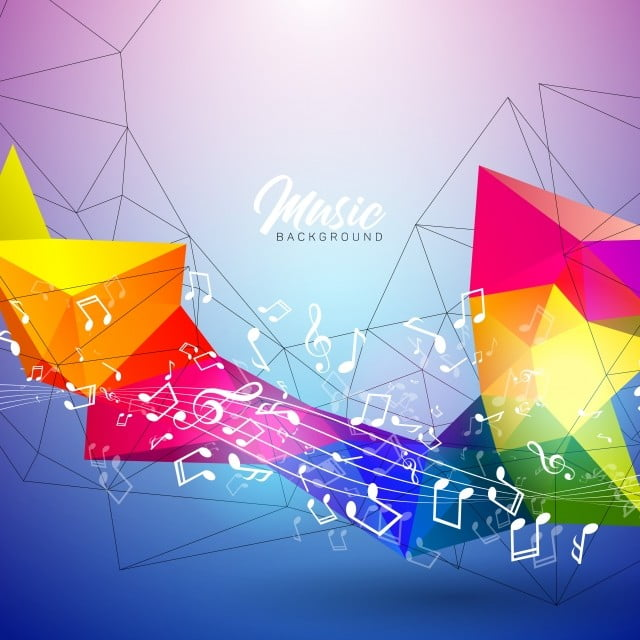 Vector Music Illustration With Falling Notes And Abstract