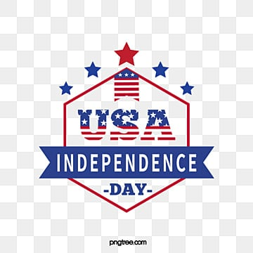 American Independent Sun Star Red and Blue Banner Art Words, July 4th, Happy, Stars PNG and Vector