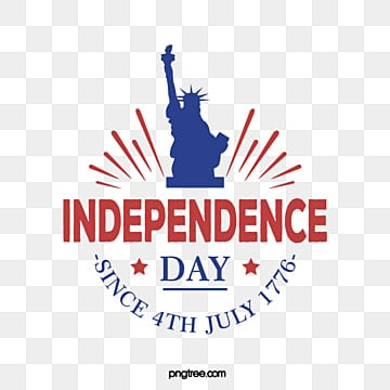 Statue of Liberty Decorates American Independence Day Art Words, July 4th, National Flag, Celebrating PNG and Vector