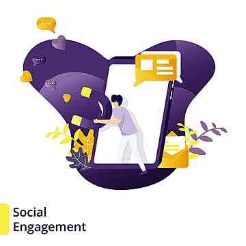 illustration social engagement   can be used for landing pages  web  ui  banners  templates  backgrounds  flayer  posters   vector, Vector, Flat, Man PNG and Vector