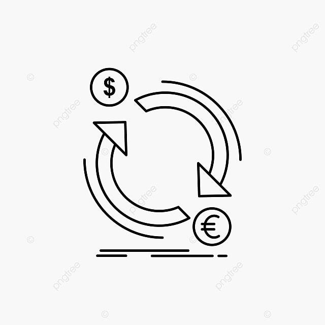 Exchange,currency,finance,money,convert Line Icon Vector Is, Bank