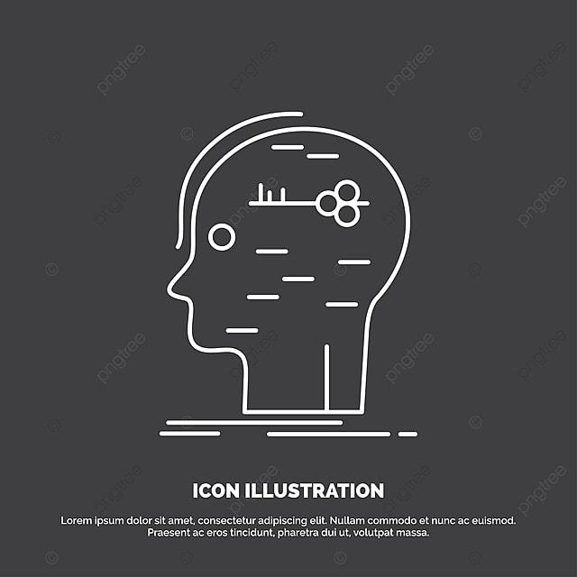 Brain Hack Hacking Key Mind Icon Line Vector Symbol For Ui