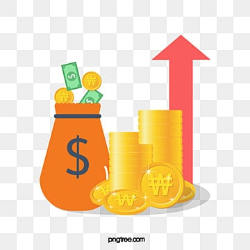 fund coin pocket rising chart, Rise, Ascending Curve, Rise PNG and Vector