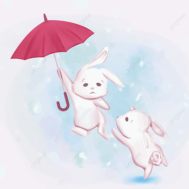 A Couple Rabbit Fly Cute Adorable Animal Art Png And Vector