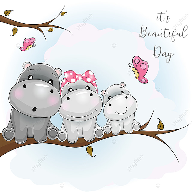 Three Cute Hippo Cartoon Sitting On The Branch Beautiful Butterfly Family Png And Vector With Transparent Background For Free Download