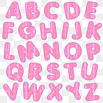 alphabet lines pink and stars, Love, Cute, Cartoon PNG and Vector