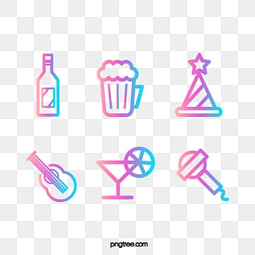 color gradient summer party set with linear signs for themes, Theme, Summertime, Layout PNG and Vector