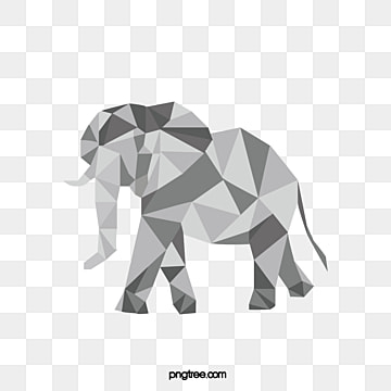 simple hand painted polygon animal elephant, Animal, Polygon, Elephant PNG and Vector