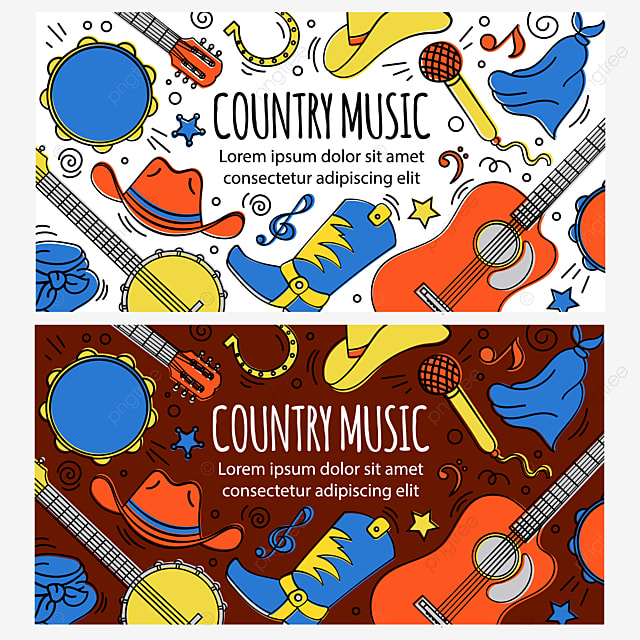 Country Music Banner American Cowboy Western Festival Vector