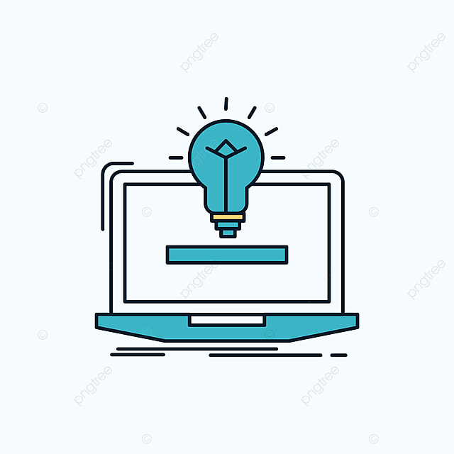 Laptop Solution Idea Bulb Solution Flat Icon Green And ...