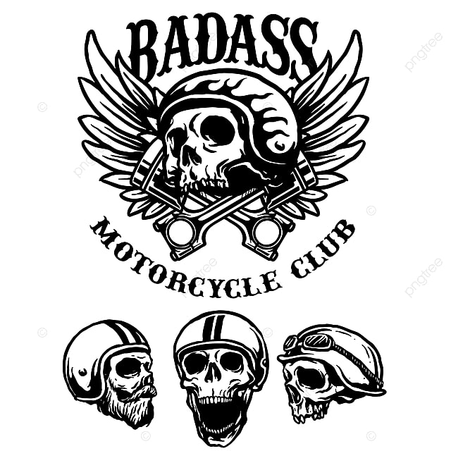 Vector Collection Of Skull Biker Emblem Motorcycle Club Logo With