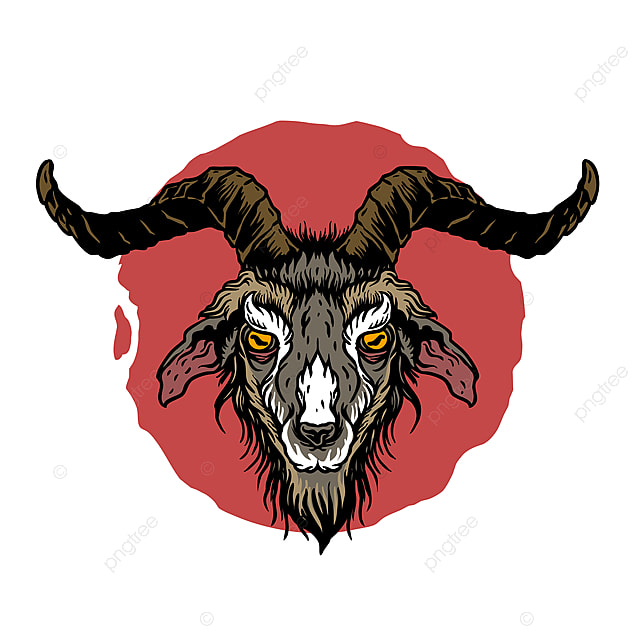 Vector Of Goat Head With Neo Traditional Tattoo Drawing Style