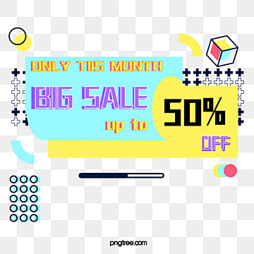 memphis style bright discount sales tag card with yellow and blue background, Note, Memphis, Discount PNG and Vector