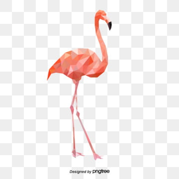 pink flamingo with polygonal composition style, Polygonal Animals, Flamingo, Stereoscopic Style PNG and Vector
