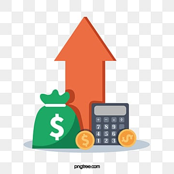 red arrow rising chart of creative funds, Ascending Arrow, Fund, Calculator PNG and Vector
