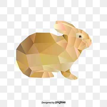 simple style polygon animal yellow rabbit, Polygonal Animals, Little Rabbit, Simple Style PNG and Vector