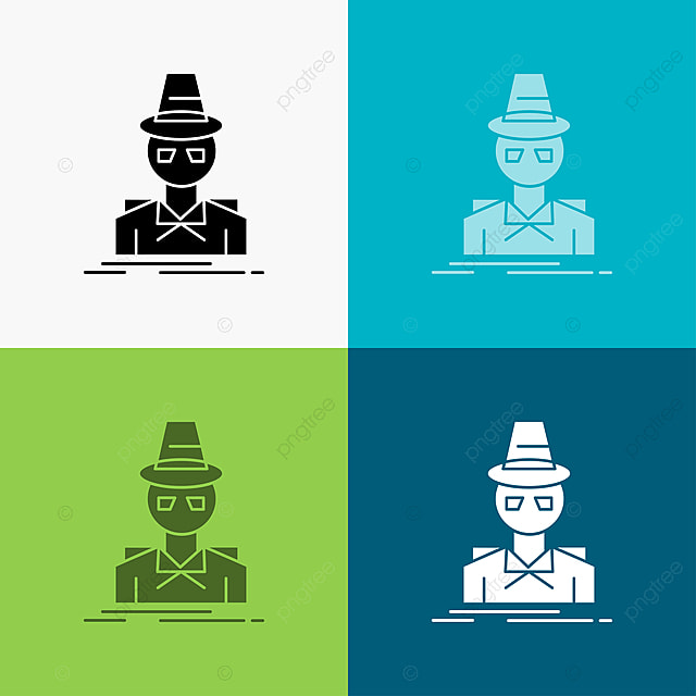 Detective Hacker Incognito Spy Thief Icon Over Various Backg Black Blue Character Png And Vector With Transparent Background For Free Download