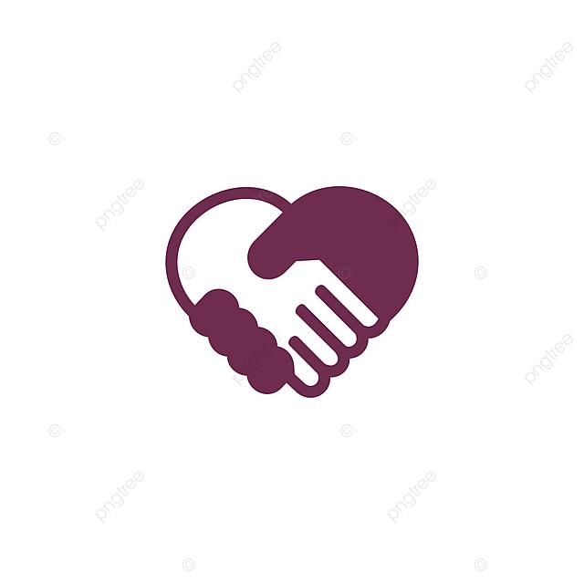 Cinta Berjabat Tangan Bentuk Logo Ikon Vektor Abstrak Perjanjian