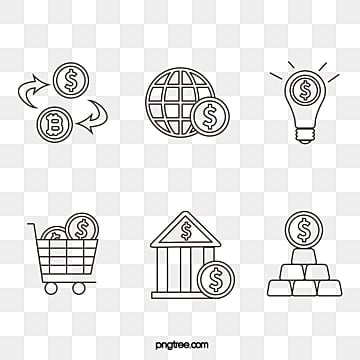 black line financial icon group diagram, Bitcoin, Light Bulb, Vectors PNG and Vector