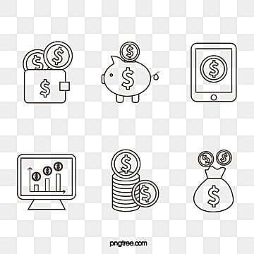 simple line financial icon, Icon, Piggy Bank, Mobile Phone PNG and Vector