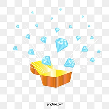 blue diamond explosion splash illustration elements, Element, Treasure Chest, Flat Style PNG and Vector