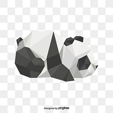 simple style polygon animal giant panda, Polygonal Animals, Panda, Simple Style PNG and Vector