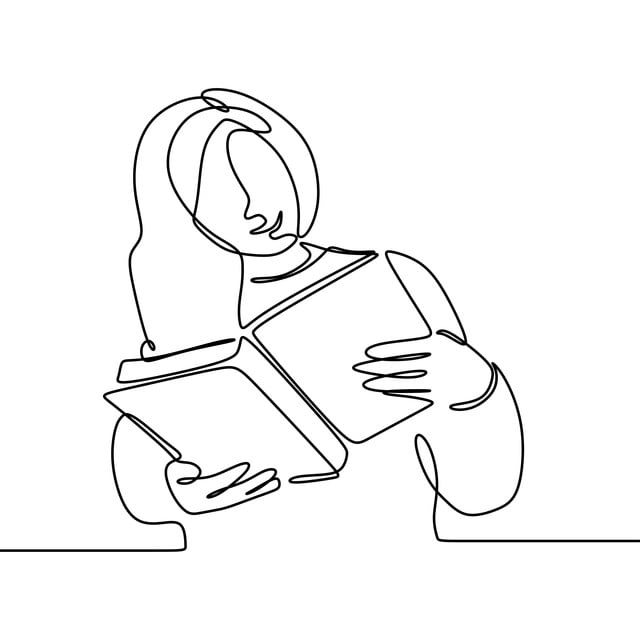 Continuous Line Drawing Of Girl Read Book Minimalist Design