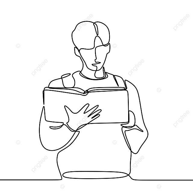 Continuous Line Drawing Of Man Read Book Illustration
