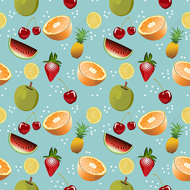 Pastel Fruits Summer Food Seamless Repeat Pattern for Commercial Use