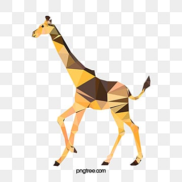 colorful geometric polygonal giraffe, Low, Polygons, Head PNG and Vector
