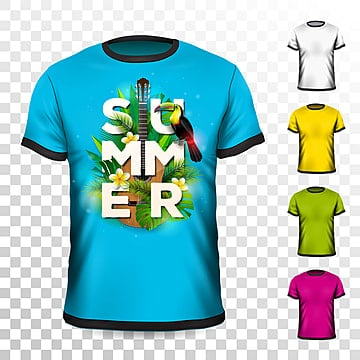 3437b7f9 summer holiday t-shirt design with tropical leaves,flower,acoustic guitar  and toucan