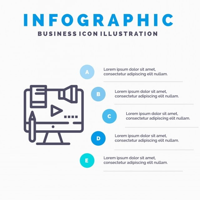Business Content Copyright Digital Law Line Icon With 5 Step