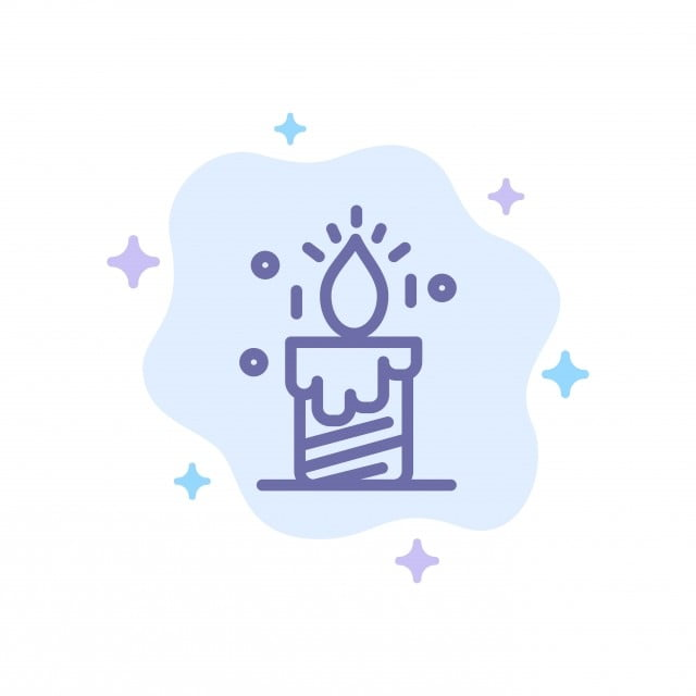 Candle Light Wedding Love Blue Icon On Abstract Cloud