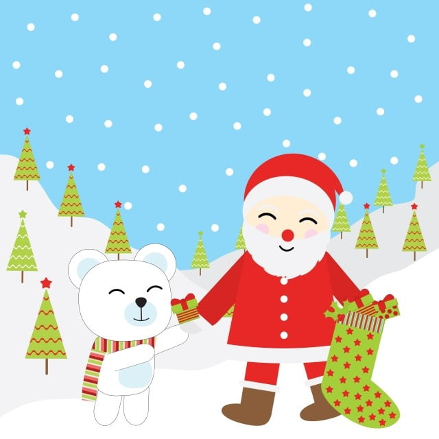 Christmas Wishes Bear.Cute Santa Claus And Bear Illustration For Christmas