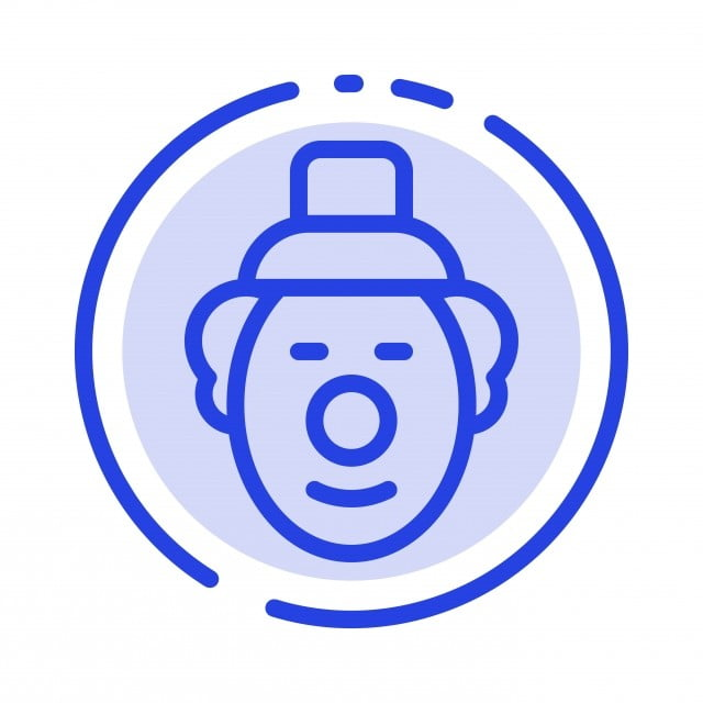 Joker Clown Circus Blue Dotted Line Line Icon, Background