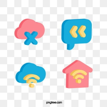 3D technology communication network stereo color icon, 3d, Icon, Color PNG and Vector